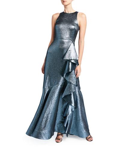 Caroline Metallic Sleeveless Gown with Asymmetric Ruffle Detail