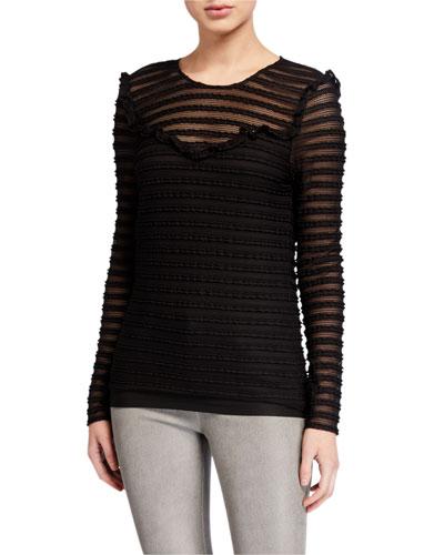 Carmen Textured Long-Sleeve Top