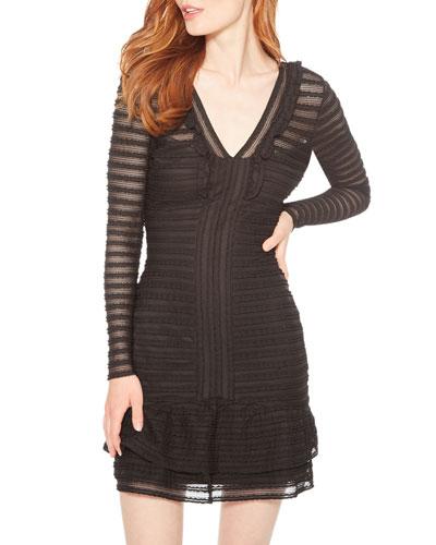 Cozumel Textured Long-Sleeve Ruffle Dress