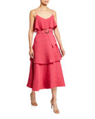 Club Monaco Tiered Maxi Dress with Belt