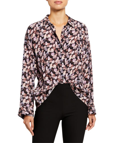 Micro Painted Floral Button-Down Top