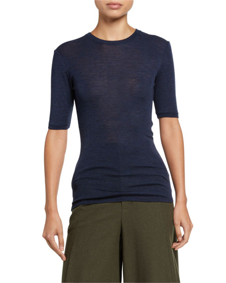 Vince Crewneck Elbow-Sleeve T-Shirt