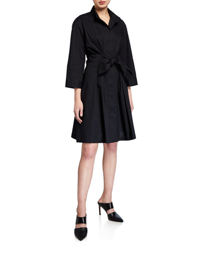 Rocky Tie-Front A-Line Shirtdress