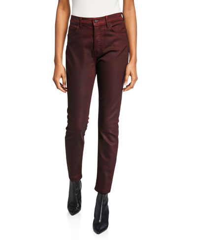 Karolina High-Rise Cropped Coated Skinny Jeans - Malbec