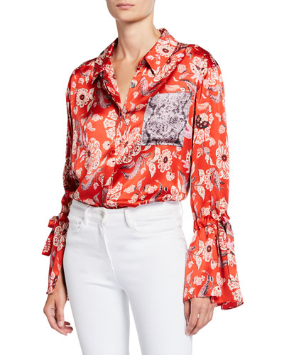 Elisia Paisley Long-Sleeve Snake-Panel Silk Top