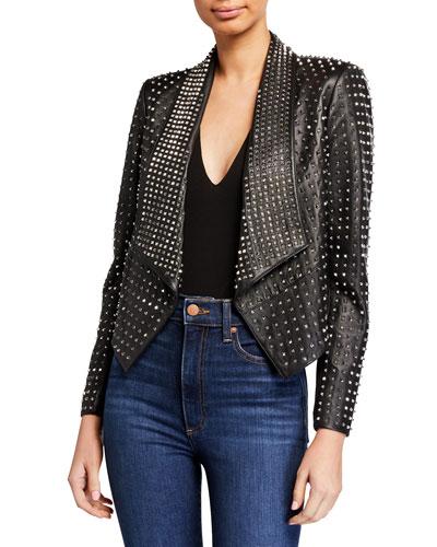 Harvey Studded-Leather Open Front Blazer