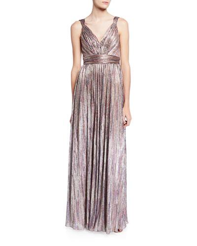 Metallic V-Neck Sleeveless Knitted Dress