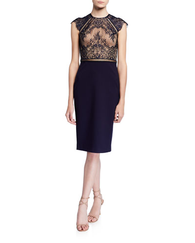 Lace-Ponte Cocktail Dress with Ladder Trim