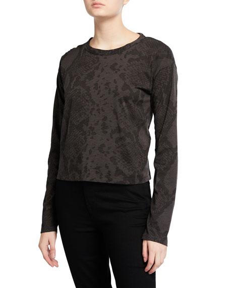 Rag & Bone Snake-Print Long-Sleeve Cropped Shirt
