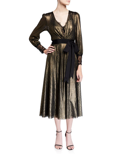 Metallic Knitted V-Neck Long-Sleeve Midi Dress w/ Lace Inset