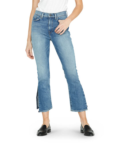 Holly High-Rise Crop Flare Jeans with Split Hem