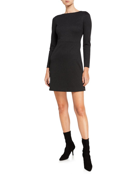 Theory Kamillina Houndstooth Knit Seamed-Waist Dress