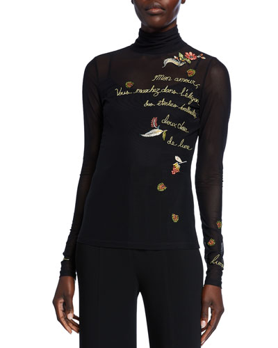 Paisley Love Story Embroidered Turtleneck Top