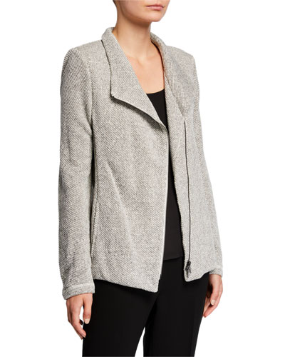 Petite Organic Cotton Twist Terry Zip-Front Moto Jacket