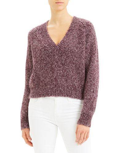 Marl V-Neck Airy Alpaca Sweater