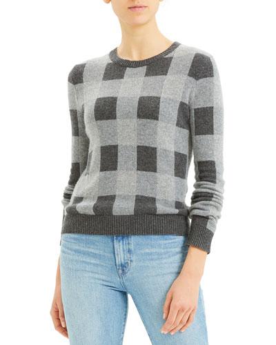 Plaid Crewneck Cashmere Sweater