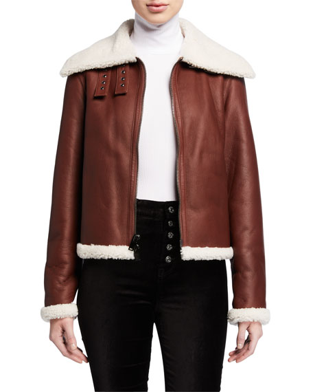 Theory Shearling Leather Moto Jacket