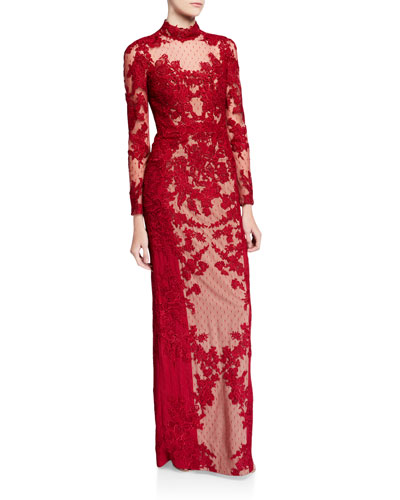 Mock-Neck Long-Sleeve Point d'Esprit Lace Illusion Gown