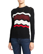 Autumn Cashmere Zigzag Stitch Crewneck Sweater