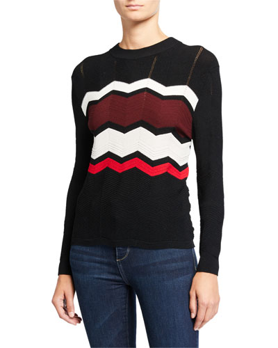 Zigzag Stitch Crewneck Sweater