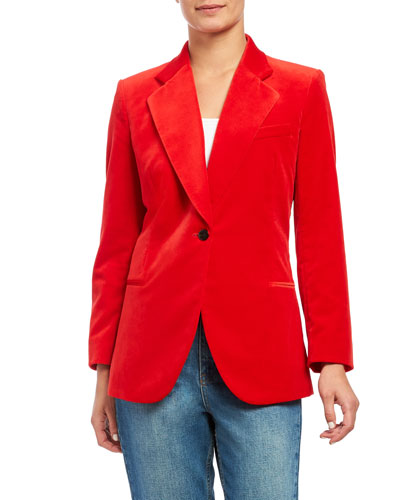 Cinched Stretch Velvet Blazer