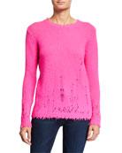 Autumn Cashmere Distressed Cashmere Crewneck Sweater