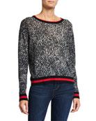 Autumn Cashmere Sporty Leopard-Print Crewneck Sweater