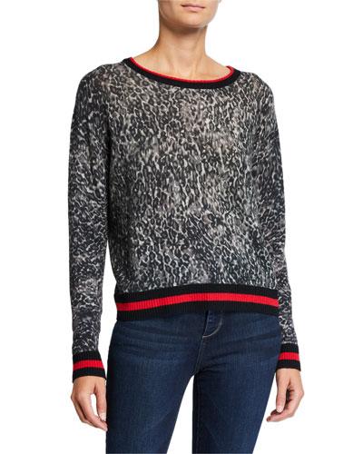 Sporty Leopard-Print Crewneck Sweater