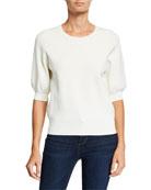Autumn Cashmere Milano Puff-Sleeve Crewneck Sweater