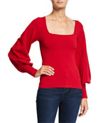 Autumn Cashmere Bishop-Sleeve Square-Neck Sweater