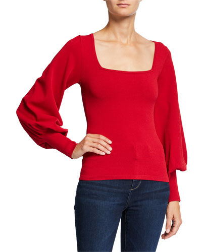 Bishop-Sleeve Square-Neck Sweater