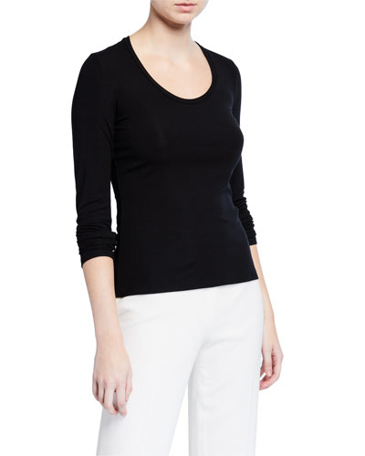 Round-Neck Long-Sleeve Viscose Top