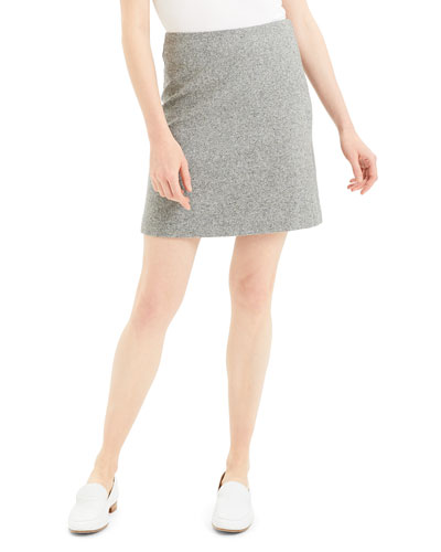 Speckle Wool Easy-Waist Skirt