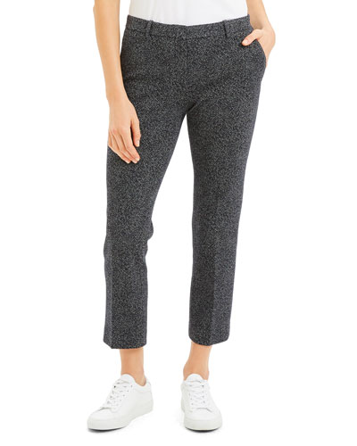 Speckle Knit Cropped Trouser Pants