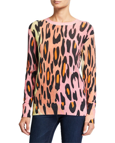 Ombre Leopard-Print Crewneck Sweater