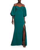 Badgley Mischka Couture Sweetheart Balloon-Sleeve Crepe Gown with
