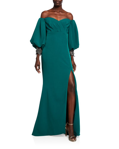 Sweetheart Balloon-Sleeve Crepe Gown with Beaded Cuffs