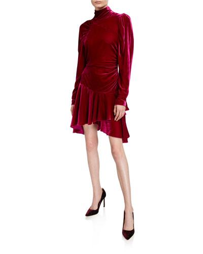 Velvet Turtleneck Drop-Waist Dress