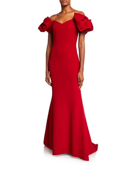 Badgley Mischka Couture Off-the-Shoulder 3D Bow-Sleeve Mermaid Gown