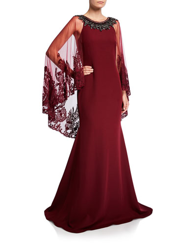 Jeweled Cape Racer Gown