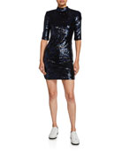 Alice + Olivia Inka Sequin Mock-Neck Mini Dress