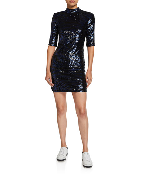 Alice + Olivia Inka Sequin Mock-Neck Mini Dress
