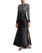 Badgley Mischka Couture Multi Sequin Bodice Long-Sleeve Gown