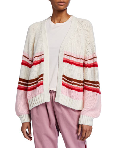 Striped Open-Front Knit Cardigan