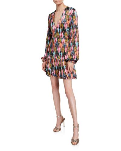 Printed V-Neck Blouson-Sleeve Short Dress