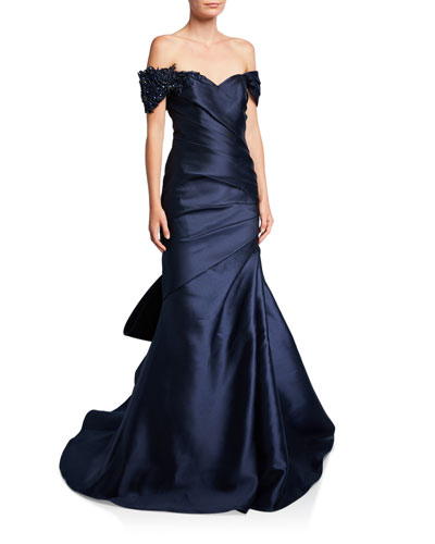 Off-the-Shoulder Bow-Back Ruched Gown with Beaded Detail