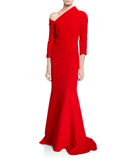 Badgley Mischka Couture One-Shoulder Crepe Gown with Structured Neckline