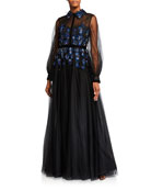 Badgley Mischka Couture Sheer-Sleeve Embellished Tulle Shirt Gown