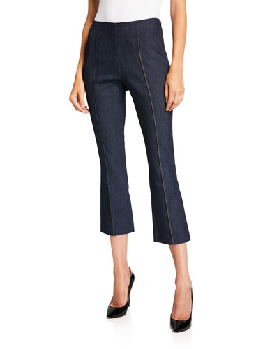 Mila Pintuck Cropped Flare Trousers