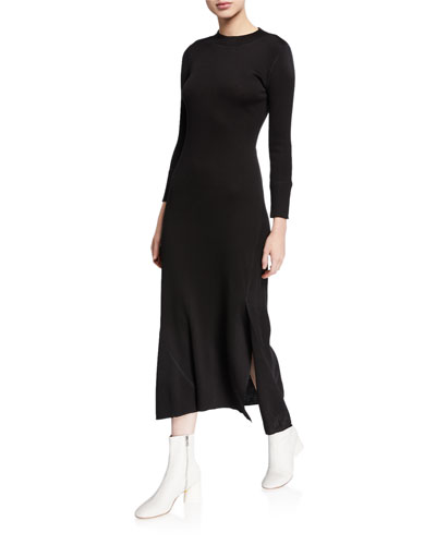 Ribbed Flounce Midi Sweater Dress